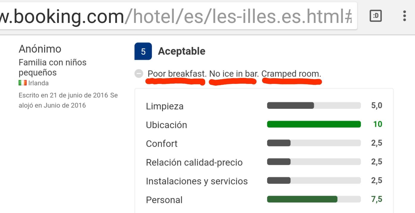 Hotel les illes estartit aceptable