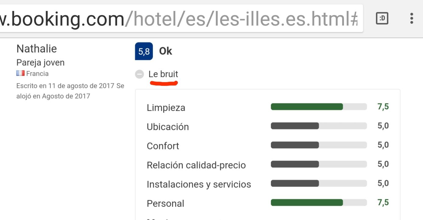 Hotel les illes estartit bruit opinion