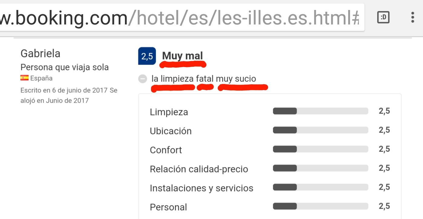Hotel les illes estartit limpieza booking