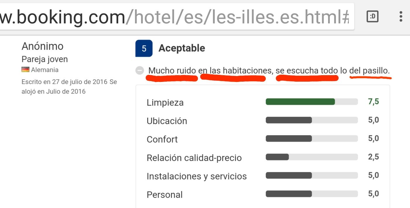 Hotel les illes estartit mucho ruido opinion