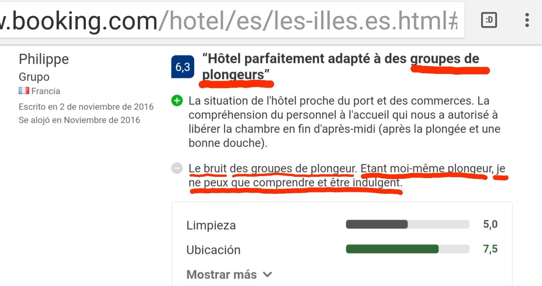 Hotel les illes Estartit plongeurs opinion